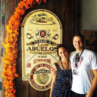 Andrew and I tasting at the Los Abuelos (Fortaleza) Distillery in Jalisco, Tequila, Mexico.
